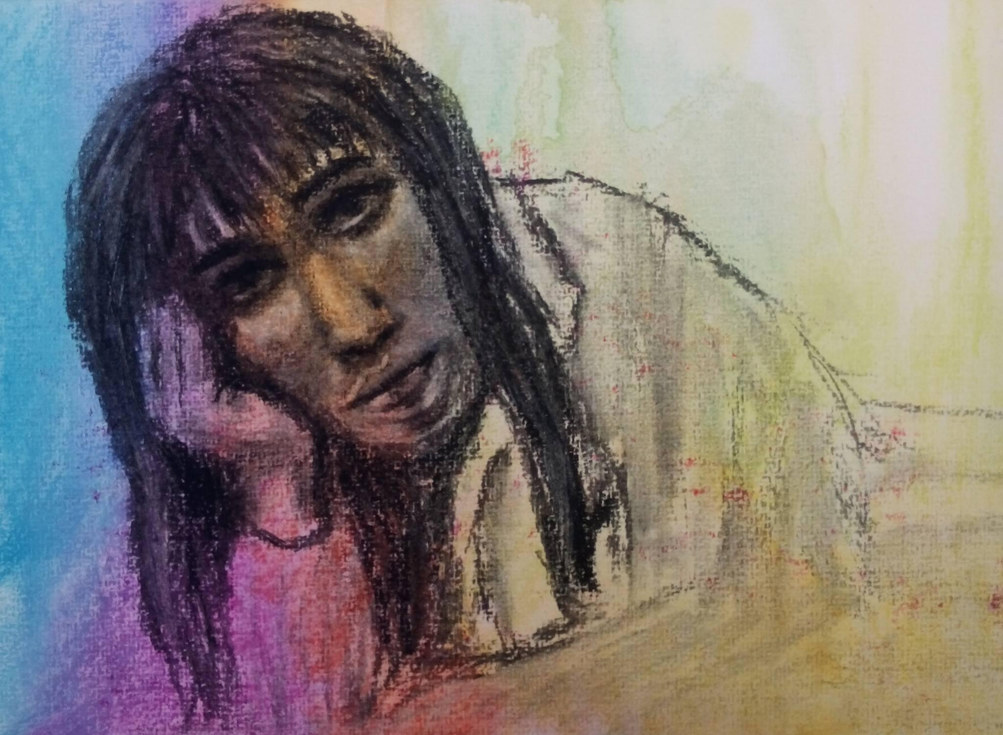 Charcoal Portrait Colour