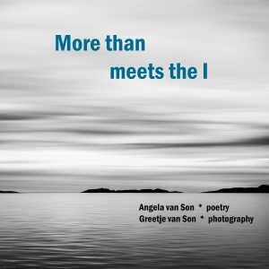 Book cover book More than meets the I; a picture of sea and air, with at the horizon the dark contour of hills.